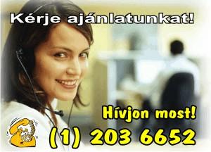 Kérje ajánlatunkat! Hívjon most: (1) 2036652